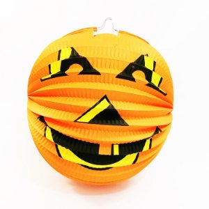 Enfeite lanterna de papel - Abóbora Halloween (22 cm)