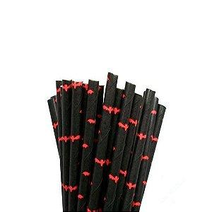 Canudo de papel preto Morcegos - 20 unidades