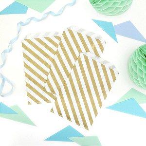 Saquinho de papel listras - Dourado 13x18 cm (10 unidades)