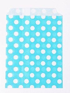 Saquinho de papel Azul - Poás branco 13x18 cm (10 unidades)