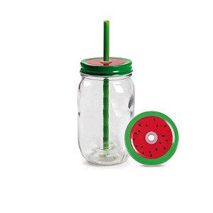 Caneca de vidro com canudo - Melancia (Mason Jar 450ml)