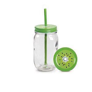 Caneca de vidro com canudo - Kiwi (Mason Jar 450ml)