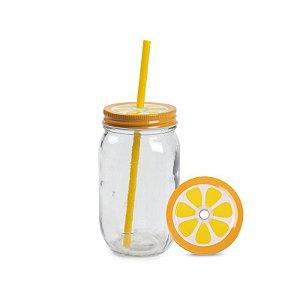 Caneca de vidro com canudo - Limão (Mason Jar 450ml)