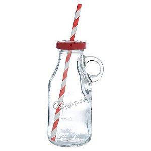 Garrafinha de vidro com alça e canudo - tampa vermelha (250ml)
