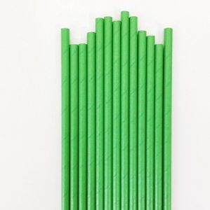 Canudo de papel liso - Verde (20 unidades)