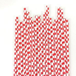 Canudo de papel quadriculado Vermelho - (20 unidades)
