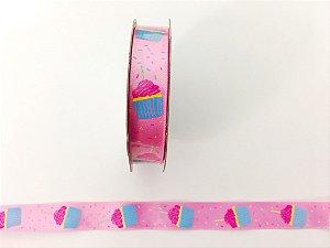 Fita rosa decorada Cupcake - 9 metros