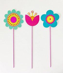 Topo de Bolo Flowers G - (3 toppers)