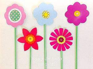 Topo de Bolo Flowers M - (5 toppers)