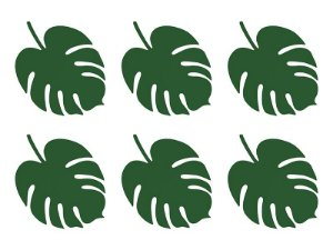 Folha Monstera Verde - 16 x 12 cm (6 unidades)