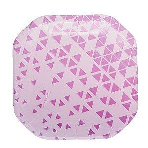 Prato de papel geométrico Lilás - 21cm (8 unidades)