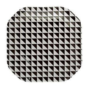 Prato de papel geométrico Preto e Branco - 21cm (8 unidades)