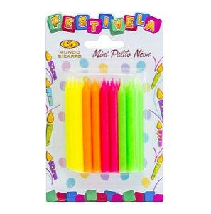 Mini vela palito - 4 cores Neon (24 unidades)