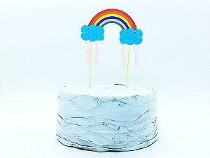 Topo de bolo - arco-íris