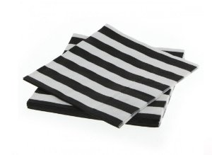 Guardanapo de papel listras Preto e Branco - 33x33cm (10 unidades)