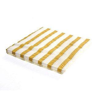 Guardanapo de papel listras Dourado - 33x33cm (10 unidades)