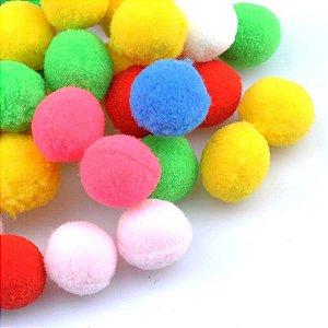 Pompom de festa cores sortidas - 2.5 cm (20 unidades)