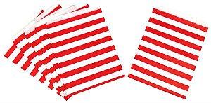 Saquinho de papel listras - Vermelho 13x18 cm (10 unidades)