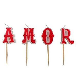 Vela palavra Amor (4 unidades)