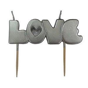 Vela palavra Love - Prata (1 unidade)