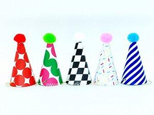 Chapéu de festa M 5 estampas - 10 un (9.5x5cm)