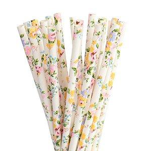 Canudo de papel Floral Candy - 20 unidades