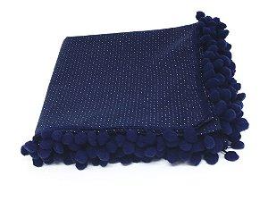 Caminho de Mesa com pompom - Azul Marinho e Poá Branco (1,5m x 70cm)