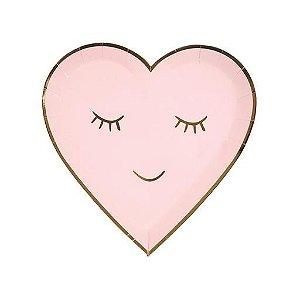 Prato de papel Coração rosa - Meri Meri (8 unidades)