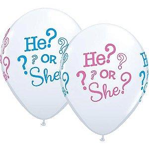 """Balão Chá Revelação - 11"""" Ele? ou Ela? (2 unidades)"""