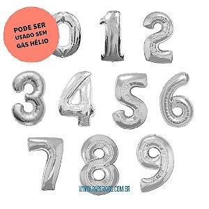 Balão número metalizado prata gigante - 86cm (escolha seu número)