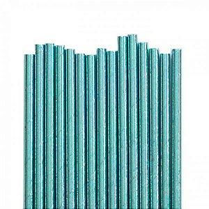 Canudo de papel metalizado Azul - 20 unidades