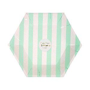 Prato de papel Listras verde menta - Meri Meri (12 un - 22 x 20 cm)