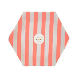 Prato de papel Listras Coral - Meri Meri (12 un)