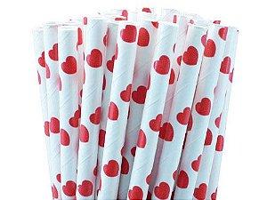 Canudo de papel coração Vermelho - 20 unidades