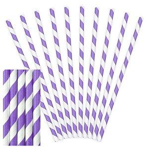 Canudo de papel listrado Roxo - 20 unidades