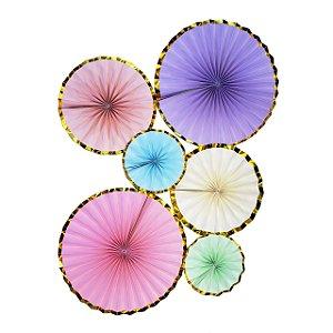 Leques de papel - Candy Colors (6 unidades)