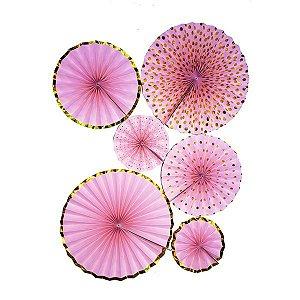Leques de papel - Rosa e dourado (6 unidades)