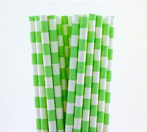Canudo de papel listra horizontal - Verde 20 unidades