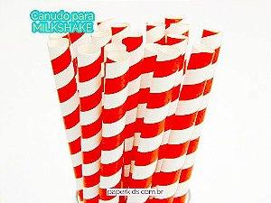 Canudo de papel Milkshake - Vermelho (12 unidades)
