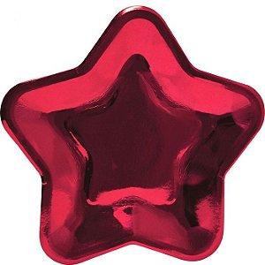 Prato de papel vermelho - Estrela (10 unidades - 18 cm)