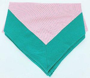 Toalha de mesa tecido Rosa - Barra Verde (1,40 x 1,40 m)