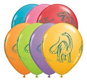 """Balões Sortidos 11"""" - Dinossauros (7 unidades)"""