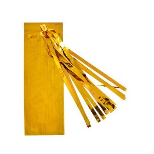 Guirlanda / Cauda Balão Franjas - Pompom Dourado (5un)