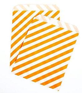 Saquinho de papel listras - Laranja 13x18 cm (10 unidades)