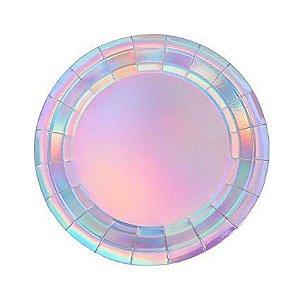 Prato de papel iridescente - Furta Cor (8 unidades -18 cm)