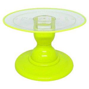 Boleira transparente Filete - Amarelo Neon (13.5 cm h x 22 cm)