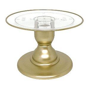 Boleira transparente Filete - Dourado (13.5 cm h x 22 cm)