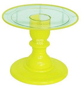 Boleira 22 cm transparente Filete - Amarelo Neon (16.5 cm altura)