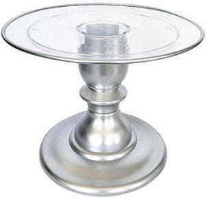 Boleira 22 cm transparente Filete - Prata (16.5 cm altura)