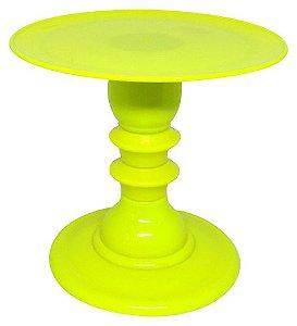 Boleira com pé torneado - Amarelo Neon